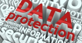 Data Protection Concept. Inscription of Red Color Located over Text of White Color.